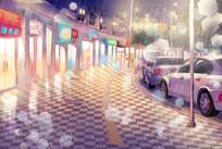 雨中街道夜景PSD分层插画