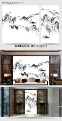 中国风电视背景墙 PSD