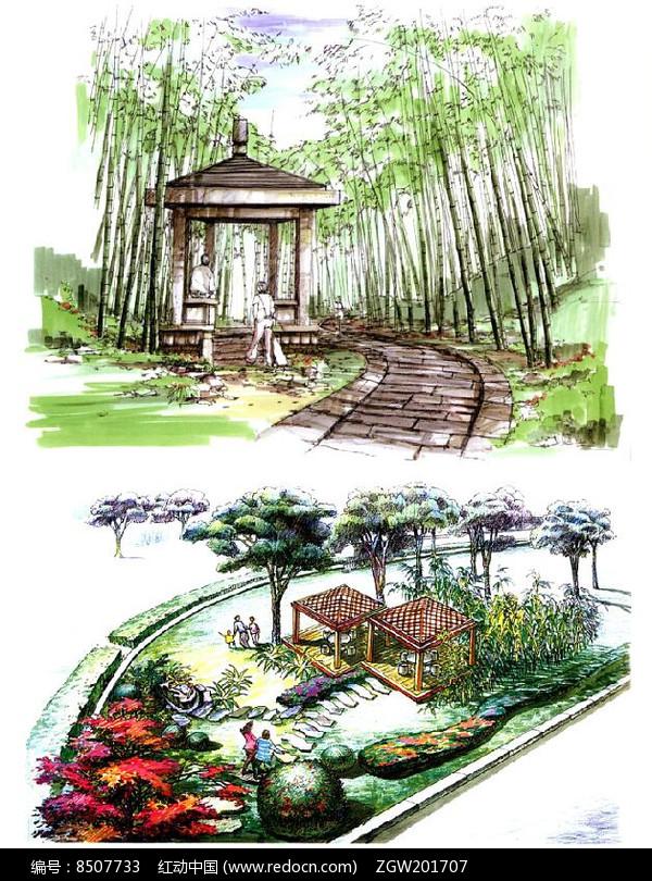 原创设计稿 方案意向 手绘素材 竹林中的亭子  请您分享: 素材描述:红