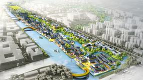 滨水小镇景观设计鸟瞰图