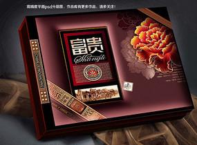富贵月饼盒食品包装盒平面分层