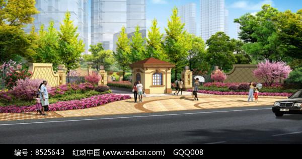 高档住宅区入口景观效果图片