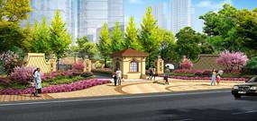 高档住宅区入口景观效果