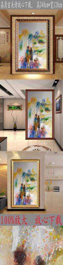 高清抽象意境情侣风景油画图 TIF