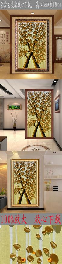 高清立体金色发财树油画图 TIF
