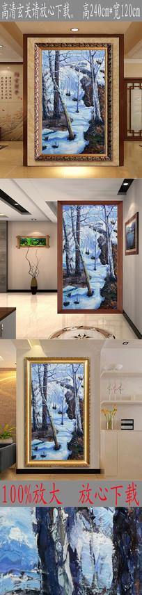 高清立体雪山森林油画图 TIF