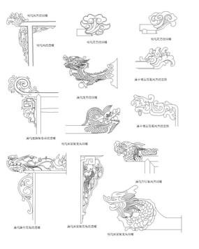 横材和立柱的端头纹样CAD dwg