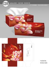 红色中国风荷花餐巾纸盒