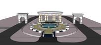 罗马柱风格大门模型