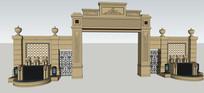 欧式雕花装饰大门模型