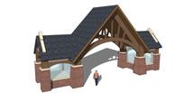 坡屋顶造型大门模型