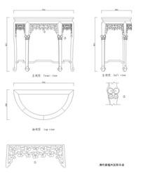 清代紫檀木圆形半桌CAD