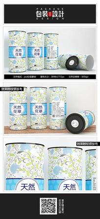 唯美素雅花茶铁罐包装设计 PSD