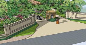 原创设计稿 3d模型库 围墙|栏杆|大门 中式小区入口景观模型图片