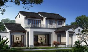 新中式建筑外观设计效果 JPG