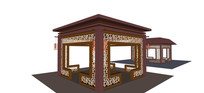 中式风格亭子模型