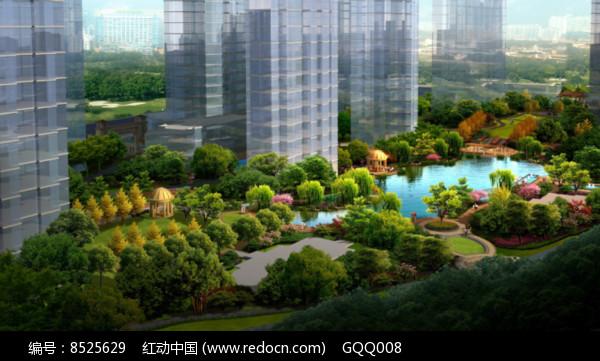 住宅景观设计鸟瞰效果图图片