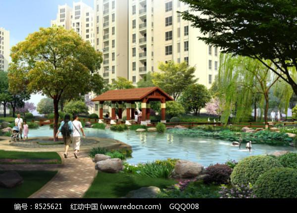 住宅区滨水景观效果图片