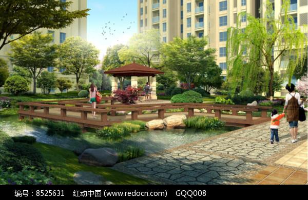 住宅区滨水凉亭效果图图片