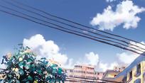 住宅区天空插画PSD分层素材