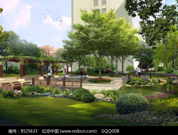 住宅区休闲活动空间效果图图片