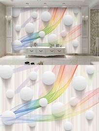 3D圆球时尚抽象彩色烟雾画背景墙