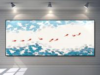 荷花九龙鱼巨幅挂画