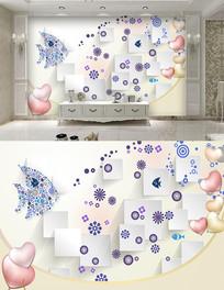 现代方块抽象鱼背景墙
