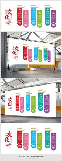 中式企业文化墙背景展板