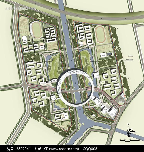 大学校园规划方案总平面图图片