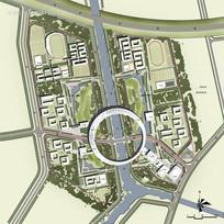 大学校园规划方案总平面图