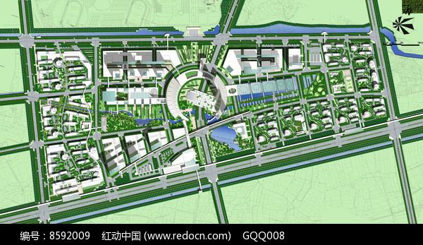 大学校园景观规划总平面图图片