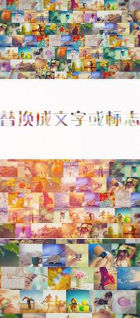 多照片排列照片墙标志展示模板
