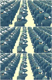 公安警察保安城管宣誓背影视频