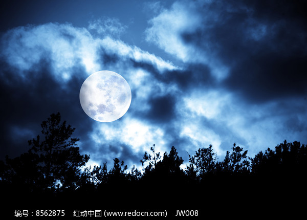 黑夜月球景象图片