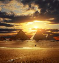 金字塔夕阳景象