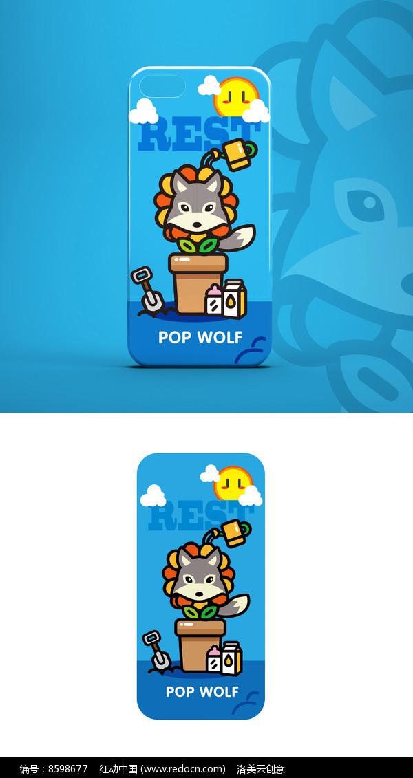 卡通萌狼形象插画素材手机壳图案图片