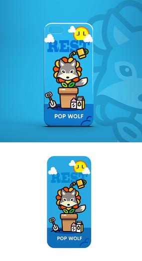 卡通萌狼形象插画素材手机壳图案