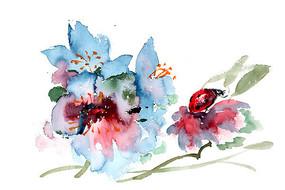 水墨鲜花与瓢虫插画 PSD