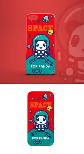 太空熊猫宇航员形象手机壳图案