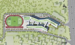 小学建筑设计彩色总平面