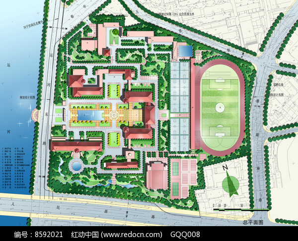 中学校园规划设计总平面图图片