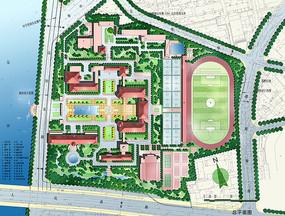 中学校园规划设计总平面图