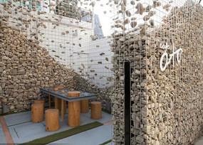 鹅卵石压缩景墙