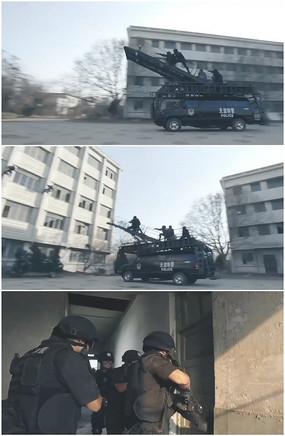 公安反恐突击车特警踹开门视频 mp4