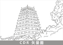 杭州六和塔线描插画 CDR