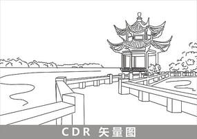 杭州西湖线描插画 cdr图片