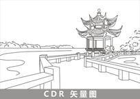 杭州西湖线描插画 CDR