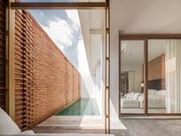 红色文化石砖整理排列景墙