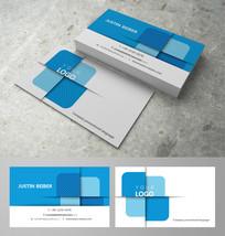 蓝色立体横纹商务名片